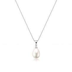 White Freshwater Drop Pearl and Diamond Pendant with 18ct White Gold-FPWDWG1119-2