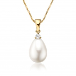 White Freshwater Drop Pearl and Diamond Pendant with 18ct Yellow Gold-FPWDYG1120-1