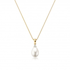 White Freshwater Drop Pearl and Diamond Pendant with 18ct Yellow Gold-FPWDYG1120-2