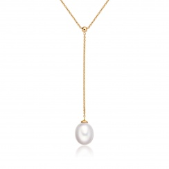 Freshwater Pearl Lariat in Yellow Gold-1