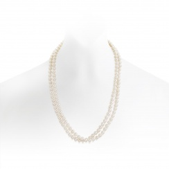 Long White Freshwater Pearl Rope Necklace with Silver-FSWRSS0072-1