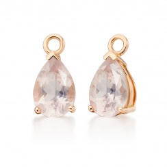 Rose Gold Huggie Earrings with Mythologie Rose Quartz Drops-EARQRG1248-3