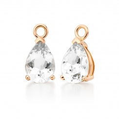 Rose Gold Diamond Leverbacks with Mythologie White Topaz Drops-EAWTRG1278-3