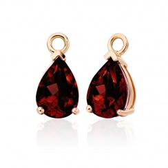 Rose Gold Diamond Leverbacks with Mythologie Red Garnet Drops-EARGRG1315-3