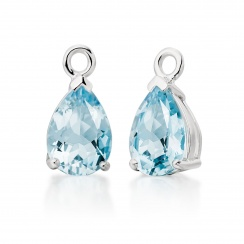 White Gold Huggie Earrings with Mythologie Aquamarine Drops--EAAQWG1245-3