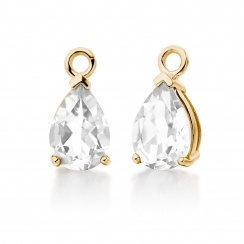 Yellow Gold Diamond Leverbacks with Mythologie White Topaz Drops-EAWTYG1277-3