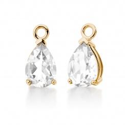 Yellow Gold Diamond Leverbacks with Mythologie White Topaz Drops-EAWTYG1277-3