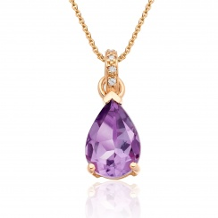 Classic Amethyst Pear Drop and Diamond Pendant in Rose Gold-PEVARRG1065-1