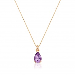 Classic Amethyst Pear Drop and Diamond Pendant in Rose Gold-PEVARRG1065-2