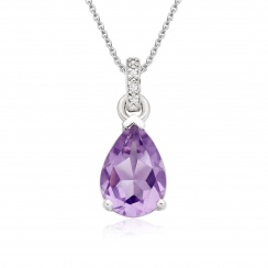 Mythologie Amethyst and Diamond Pendant in White Gold-PEVARWG1058-1