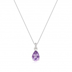 Mythologie Amethyst and Diamond Pendant in White Gold-PEVARWG1058-2