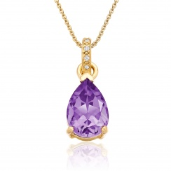 Mythologie Amethyst and Diamond Pendant in Yellow Gold--PEVARYG1062-1