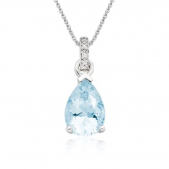 Mythologie Aquamarine and Diamond Pendant in White Gold-PEVARWG1060-1