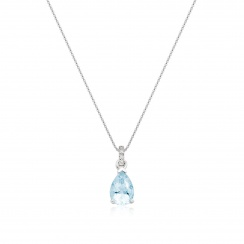 Mythologie Aquamarine and Diamond Pendant in White Gold-PEVARWG1060-2
