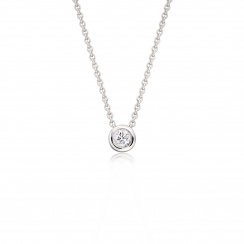 Classic 0.10ct Diamond Pendant with White Gold-1