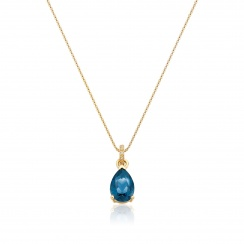 Mythologie London Blue Topaz and Diamond Pendant in Yellow Gold-PEVARYG1063-2