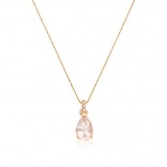 Classic Rose Quartz Pear Drop and Diamond Pendant in Rose Gold-PEVARRG1067-2
