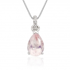 Mythologie Rose Quartz and Diamond Pendant in White Gold-PEVARWG1061-1