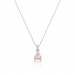 Mythologie Rose Quartz and Diamond Pendant in White Gold-PEVARWG1061-2