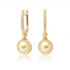 Yellow Gold Diamond Leverbacks with Golden South Sea Pearls-SEGRYG0275-1