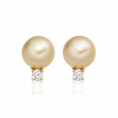 Golden South Sea Pearl and Diamond Stud Earrings - SEGRYG0621-1