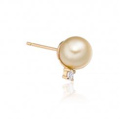 Golden South Sea Pearl and Diamond Stud Earrings - SEGRYG0621-2
