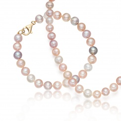 Multi-coloured Freshwater Pearl Necklace and Bracelet Set-SETSFM0159-1