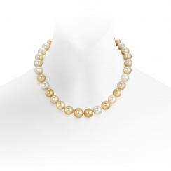 Multi-coloured Gold South Sea Pearl Necklace with Pave Diamonds-SNGRYG0004-1