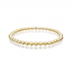 Gold South Sea Pearl Necklace with Pave Diamonds & Yellow Gold-SNGRYG0005-1