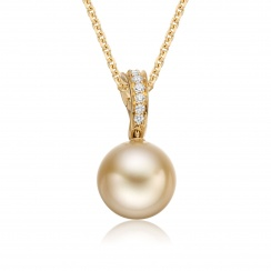 Gold South Sea Pearl and Pave Diamond Pendant with 18ct Gold-SPGRYG0038-1