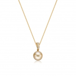 Gold South Sea Pearl and Pave Diamond Pendant with 18ct Gold-SPGRYG0038-2