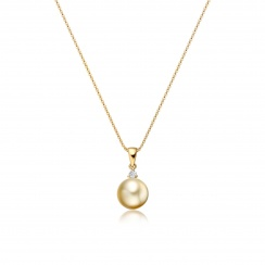 Golden South Sea Pearl and Diamond Pendant-SPGRYG0176-2