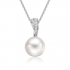 White South Sea Pearl and Pave Diamond Pendant with 18ct Gold-SPWRWG0028-1