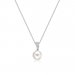 White South Sea Pearl and Pave Diamond Pendant with 18ct Gold-SPWRWG0028-2