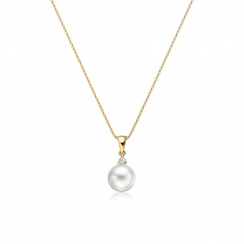 White South Sea Pearl and Diamond Pendant in Yellow Gold-SPWRYG1313-2