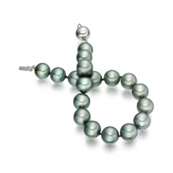 Tahitian Grey Pearl Bracelet with 18ct White Gold Ball Clasp-2
