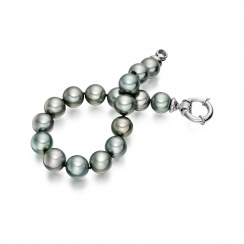 Tahitian Grey Pearl Bracelet with 18ct White Gold Spring Ring Clasp-2