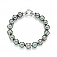 Tahitian Grey Pearl Bracelet with 18ct White Gold Spring Ring Clasp-1