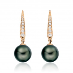Mythologie Dark Dewdrop Tahitian Pearl Earrings in Rose Gold-TEBRRG1281-2
