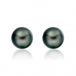 Tahitian Black Pearl Stud Earrings in 18 Carat White Gold-2