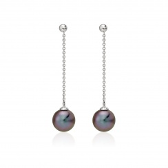 Tahitian Pearl Constellation Earrings in White Gold-TEBRWG1225-2