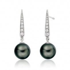 Mythologie Dark Dewdrop Tahitian Pearl Earrings in White Gold-TEBRWG1279-1