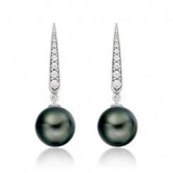 Mythologie Dark Dewdrop Tahitian Pearl Earrings in White Gold-TEBRWG1279-2