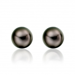 Tahitian Black Pearl Stud Earrings in 18 Carat Yellow Gold-2