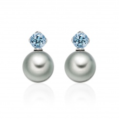 Lief Aquamarine Earrings in White Gold with Tahitian Pearls-TEGRAQ0465-1