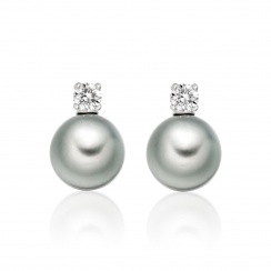 Diamond Studs in White Gold with Tahitian Pearls-TEGRWG0490-1