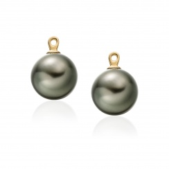 Diamond Studs in Yellow Gold with Black Tahitian Pearls-TEGRYG0492-4