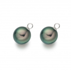 Peacock Tahitian Pearls for White Gold Diamond Leverbacks-TELPWG0284-1