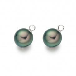 Peacock Tahitian Pearls for White Gold Diamond Leverbacks-TELPWG0284-1