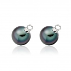 White Gold Diamond Leverback And Black Tahitian Pearl Earrings-3